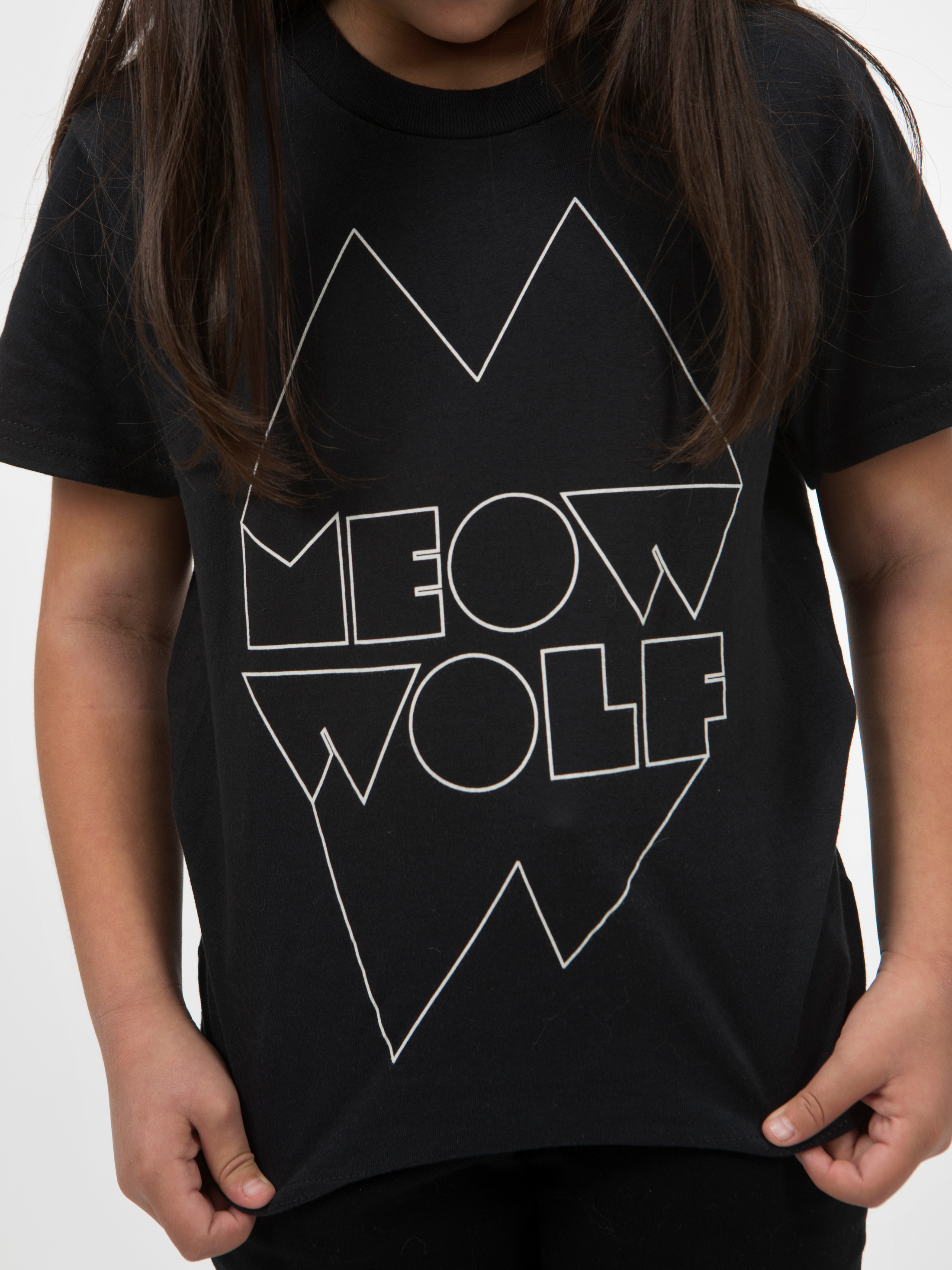 Meow Wolf Black and White Logo Youth T