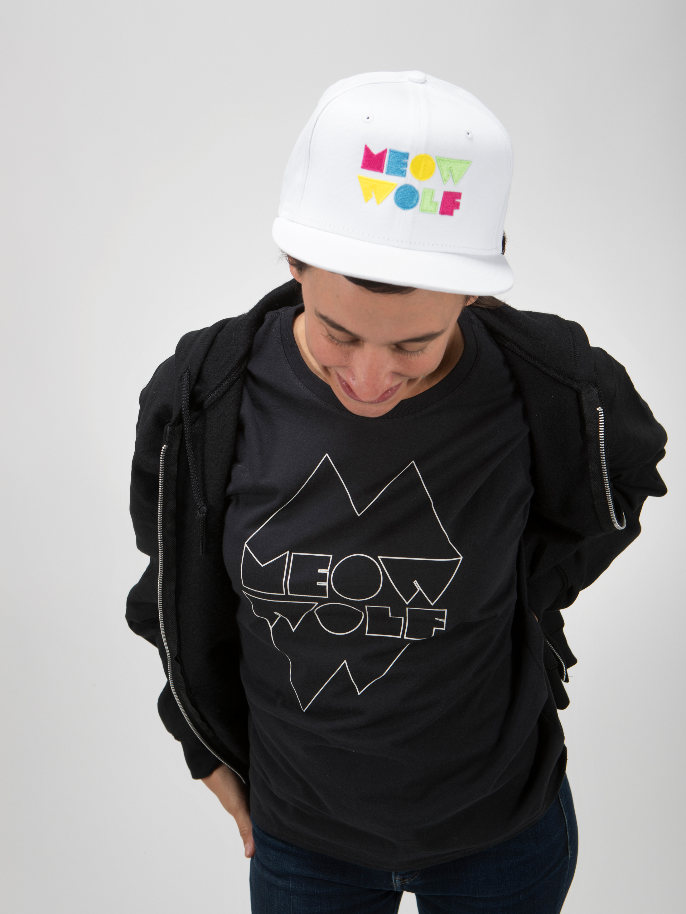 Meow Wolf White Snapback Hat