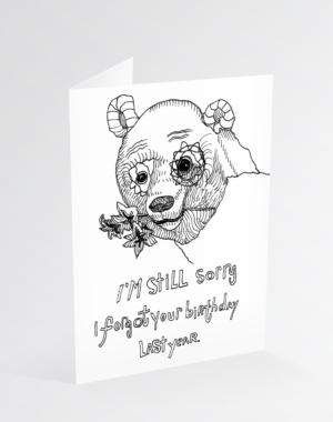 Forgetful Birthday Bear Greeting Card