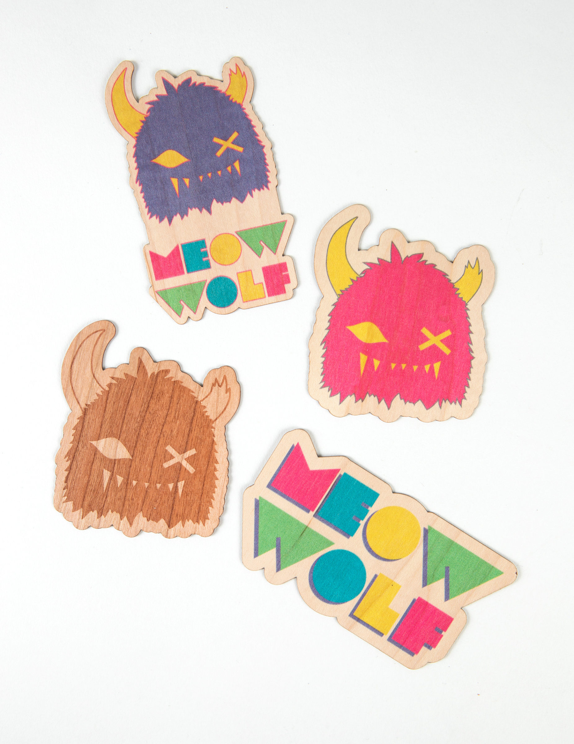 Meow Wolf wooden stickers