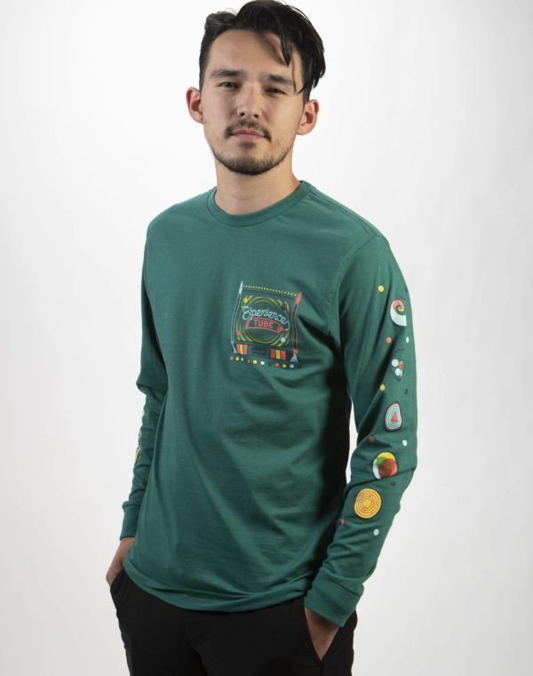 Experience Tube Long Sleeve T-Shirt Teal Meow Wolf