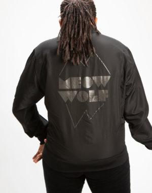 Meow Wolf Logo Black Bomber Jacket