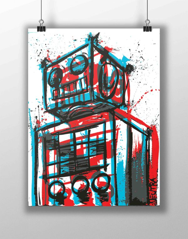 Retro-Bot Screen Print