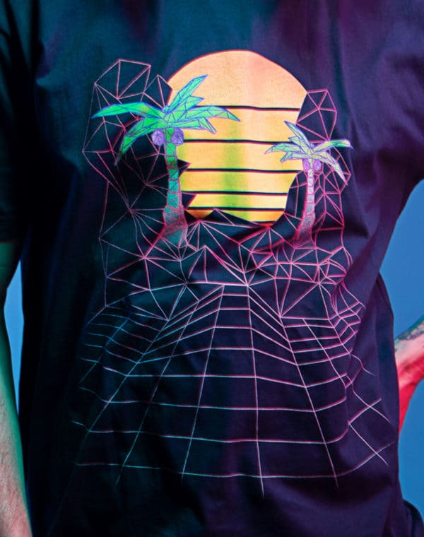 KLS_Sunset_Grid_Tshirt_Closeup_Meow_Wolf