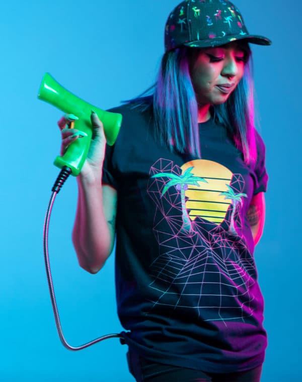 KLS_Sunset_Grid_Tshirt_Front_Meow_Wolf