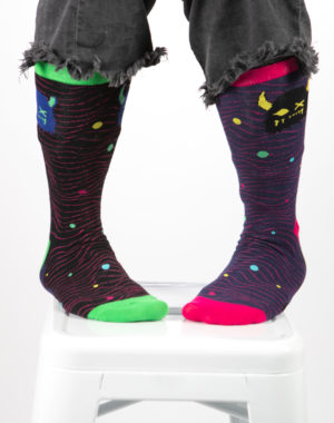 Meow Wolf Lost Socks - Snaggy Black/Yellow - Blue/Green