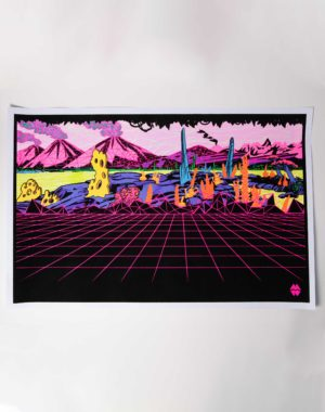 Gridscape Black Light Print