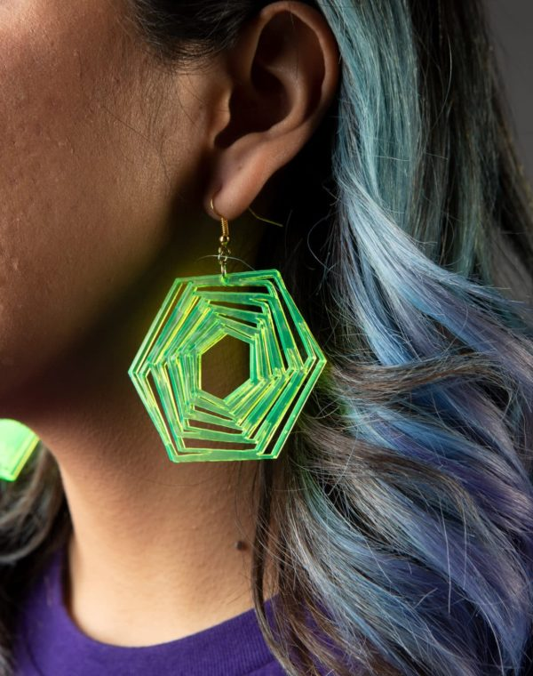 Hunny Bunny Jewelry - Neon Green Vortex Earrings- Meow Wolf